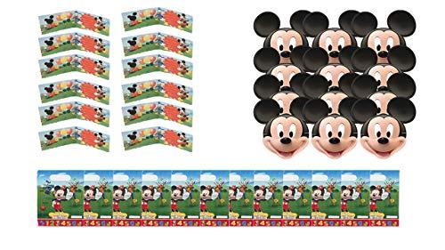 2433; Disney Mickey Mouse verjaardag- en feestpakket; samengesteld uit 12 maskers, 12 Mickey-uitnodigingen en 12 zakken.