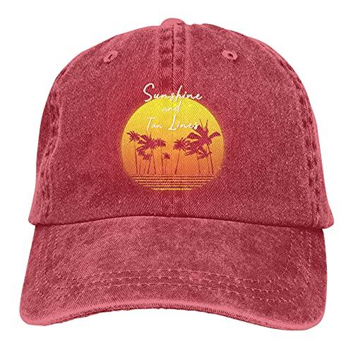 Leumius Sunshine & Tanlines-1 sombrero, clásico sombrero de vaquero ajustable gorra de béisbol unisex casual, rosso, Talla única