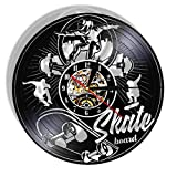 wffmx Skate Board Vinilo Negro LP Reloj De Pared Skateboard Patinadores sobre Ruedas Disco De Vinilo Tablero De Arte Sala De Adolescentes Reloj De Cuarzo Silencioso