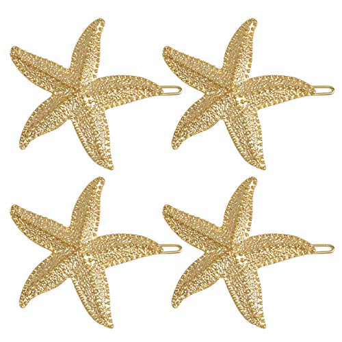 AUEAR, 4PCS Starfish Hair Clips Bridal Hairpin Metal Hair Pins Sea Star Hair Clip Pretty Beach Hair Pin for Wedding Women Girls Barrettes Styling Hair Mermaid Accessories Valentine's