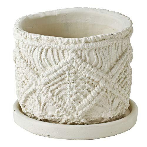 SPICE OF LIFE(スパイス) 植木鉢 マクラメプランター 切り立ち Sサイズ 直径13cm 高さ11cm CCGF1040 ホワイト
