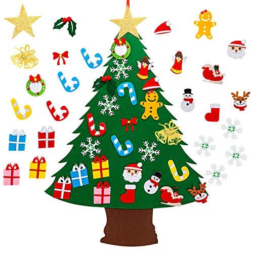SAVITA Filz Weihnachtsbaum, DIY Weihnachtsbaum mit 25 Stück Christmas Wandbehang Deko für Kinder Weihnachts Geschenk Und Hauptdekoration (95x69cm)