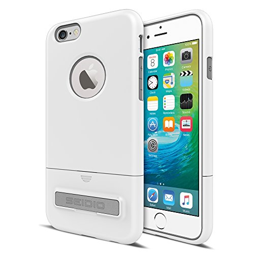 Seidio Surface with Metal Kickstand Case for iPhone 6/6S [Dual-Layer Protection] - Non-Retail Packaging - Glossed White/Gray