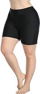 ALove Hollow Out Plus Size Swim Shorts for Women Boyleg High Waist Board Shorts
