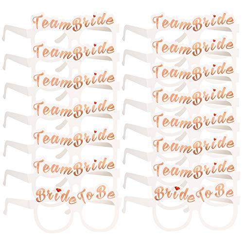 Konsait 16 JGA deko Accessoires, 2 x Die Braut + 14 x Team Braut Brille JGA Foto Booth Props Spiel für Braut Frauen Junggesellinnenabschied Accessoires und Hochzeitsfeier Dekorationen