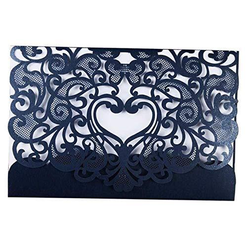 Piero 1 STKS Romantische bruiloft uitnodigingskaart Delicate gesneden kleine bloemmotief bruiloft kaart partij, D055BLUE