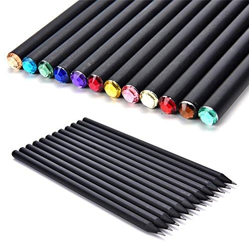 Qbisolo 12-teiliges Set, schwarze Stange HB Bleistifte mit bunten Diamanten, für die Schule, Malen und Schreiben.