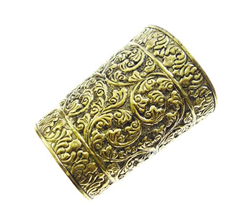 Braccialetto in argento tibetano, realizzato a mano, in ottone anticato, stile etnico, lungo, vintage, da donna, in filigrana tibetana, tribale, gitana, buddista, bohémien, regolabile, stile gotico