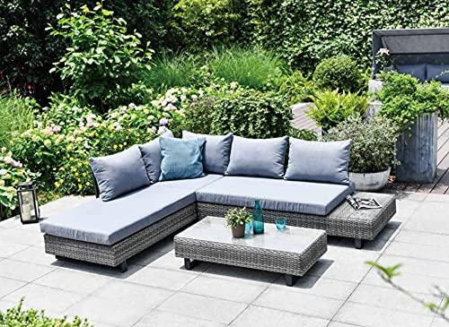 GSD St Lucia Corner Sofa Sun lounger Rattan Wicker Luxury Garden Set - In Grey w/Grey/Blue Cushions