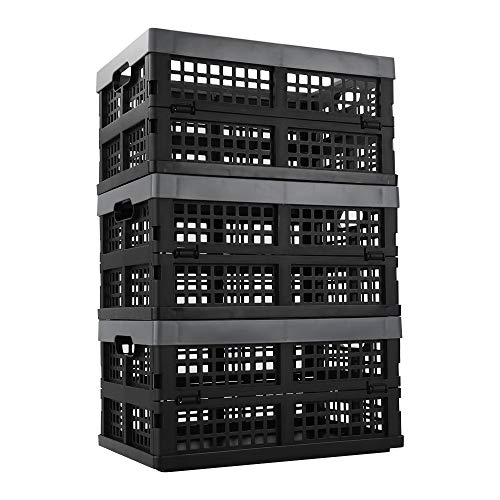 Ucake Fold Flat Crate Storage Collapsible Crate Folding Plastic Crates for Storage, 3 Packs