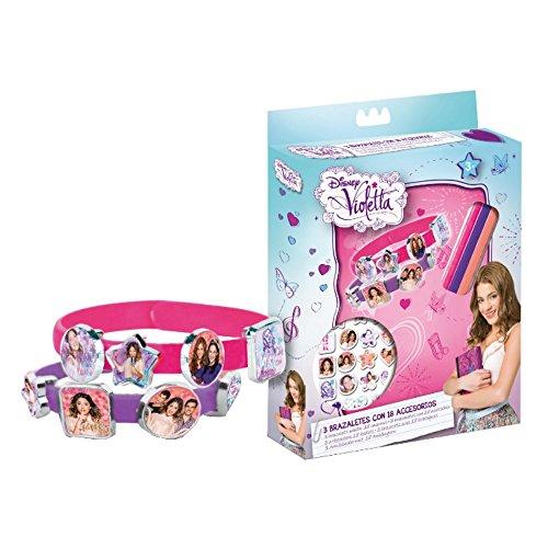 Disney Violetta 095001 - 3 Armbänder mit 18 Anhänger in Geschenkbox, 15 x 2.5 x 20.5 cm