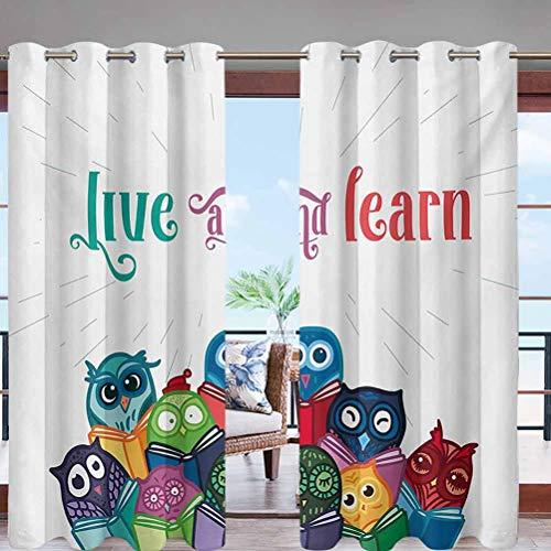 Grommet Top Curtain Panel Pair Blackout Drapes Kids Nursery Room Design W108 x L96 for Front Porch Lawn Corridor Patio Door