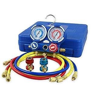 ZENY Diagnostic A/C Manifold Gauge Set R134a Refrigeration Kit Brass Auto Serivice Kit 4FT w/Case, 1/4″ SAE Fittings
