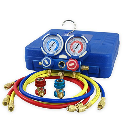 ZENY Diagnostic A/C Manifold Gauge Set R134a Refrigeration Kit Brass Auto Serivice Kit 4FT w/Case, 1/4' SAE Fittings