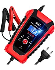 RIKIN Cargador de Batería Coche 6A 6V/12V/24V Cargador Rápido Automático Protección Múltiple con Pantalla LCD para Motos Automóviles Barco