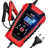 RIKIN Chargeur de Batterie Intelligent 6A 6V/12V/24V avec Écran LCD Chargeur Moto Portable Rapide Multiples Modes de Charge de Protection de Réparation pour Batterie de Voiture Moto Bateau