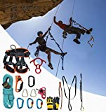 HMLIGHT Rock al Aire Libre Escalada Equipo de Deporte Juego de Cuerda de Escalada con cinturón de Seguridad/descensor/Vertical de E/Bolsa de Almacenamiento/Hebilla,100m