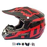 Casco Moto niño,Casco Motocross niño Moto Set con Gafas/Máscara/Guantes Casco Motocross (6unidades) Apto para Cuatro Estaciones (57-58CM)
