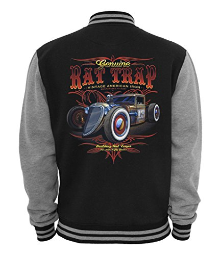 Ethno Designs Rat Tap - Hot Rod College-Jacke für Damen und Herren - Old School Rockabilly Retro Style - Navy/Sportsgrey, Größe XL