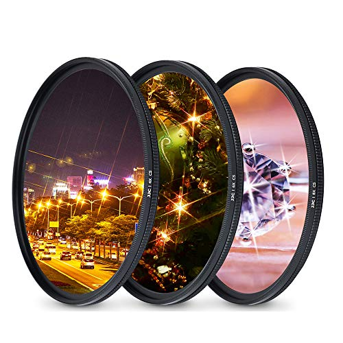 JJC 58mm Variable Star Filter Cross Screen Starburst Filter Kit for Canon EF-S 18-55mm f3.5-5.6 for Nikon AF-S 50mm f1.8G for Fujifilm XF 18-55mm f2.8-4 R Lens & Other Lenses with 58mm Filter Thread