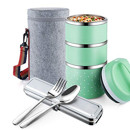 OKQ Stackable Lunch Box Container, 3-Tier Stainless Steel Bento Box, for Adults/Men/Women/Kids, with a Lunch Bag Spoon Fork, Leakproof and Thermal, Insulated Lunch Box - Green