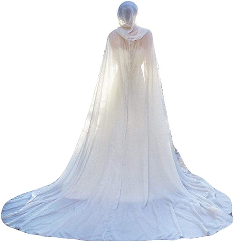latest Fenghuavip Chiffon 3M Cathedral Trust Wedding Br Hooded Cloak Cape for