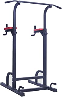 Limaomao-Sport Dip Station Standing Full Body Chin Up Bar Power Tower Adjustable Dip Station Strength Muscle Training Fitness Workout (Color : Steel Color, Size : 18210067cm)