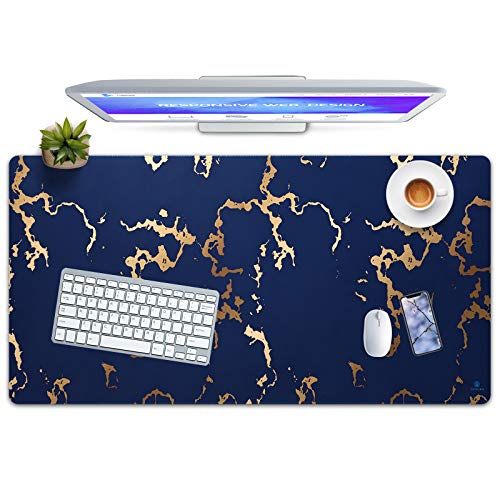 Gaming Mouse Pad, JAMGRO Extended Mouse Pad, XXL Large Big Computer Keyboard Mouse Mat Desk Pad with Non-Slip Base and Stitched Edge for Home Office Gaming Work, 31.5x15.7x0.12inch, Navy Blue