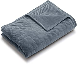 YnM Minky Duvet Cover for Weighted Blankets (48''x72'') - Grey Square Quilted