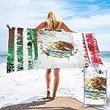 Lsjuee - Toalla de Ducha con Bandera Mexicana en Acuarela, Microfibra, súper Absorbente de Agua, para Cubrir el baño, Toalla de Playa de Secado rápido, Multiusos, Esterilla Deportiva para Yoga, envo