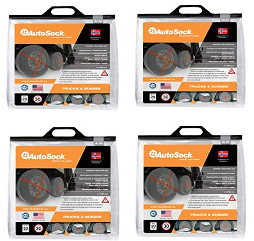 AutoSock AL84-4 Super Single Commercial Heavy Duty Truck and Trailer Traction Wheel and Tire Cover for Ice & Snow Easy Install Tire Chain Alternative Set of 4 Pair