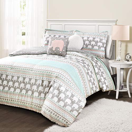 Lush Decor Elephant Stripe 4 Piece Comforter Set, Twin, Turquoise & Pink, Pink & Turquoise