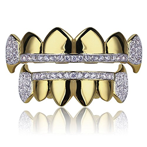 TOPGRILLZ Gold Hip Hop Teeth Grillz Micro Pave Cubic Zircon Top&Bottom Vampire Fangs Teeth Grills Set Holleween Gift Men Women (Yellow Gold)