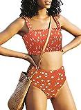 Stevemary Conjunto de Bikini Fruncido sin Tirantes sin Tirantes de Cintura Alta Lindo para Mujer Traje de ba?o Traje de ba?o D Naranja Peque?o