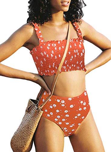 Stevemary Conjunto de Bikini Fruncido sin Tirantes de Cintura Alta Lindo para Mujer Traje de ba?o Traje de ba?o D Naranja Grande