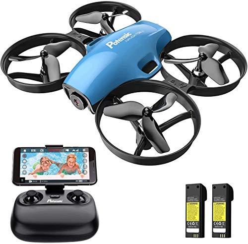 Potensic Drone con Telecamera HD Mini Drone Telecomando Quadricottero FPV WiFi modalità Senza Testa, Sensore di gravità, Mantenere l'Altitudine, Blu