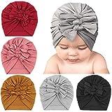 DRESHOW 5 PCS Sombreros y Gorras para Bebés Niño Niña Infantil Turbante Niño Bebé Nudo Sombrero Beanie Gorro