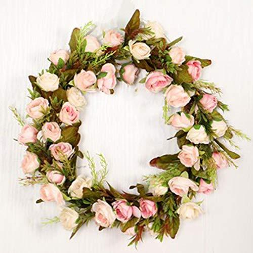 Simulation Rose Garland Silk Imitation Plant Wreath Winter Decorative Wreath Door Window Flower Decoration Wall Hanging Wreath,for Home Wedding Festival Decoration,40 cm (Pink)