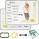"""Babble Bum Baby Milestone Blanket for Boy or Girl; Soft Fleece Gender Neutral Double-Sided Monthly Milestone Blanket for First Year Newborns with Weeks/Months, Holidays, Firsts, Photo Props, 40' x60"""""""