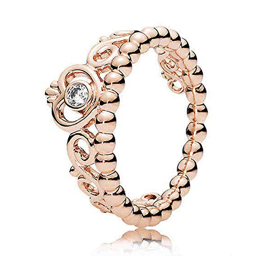 BQZB Ring 30% Silber Ring für Frauen Rose Gold Farbe My Princess Tiara Ring Klar Mode Mädchen Geschenk fit Lady Schmuck