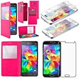ebestStar - Funda Compatible con Samsung Grand Prime Galaxy G530F, Value Edition G531F Carcasa Ventana Vista Cover Cuero PU, Funda Billetera, Rosa +Cristal Templado [Aparato: 144.8x72.1x8.6mm 5.0']