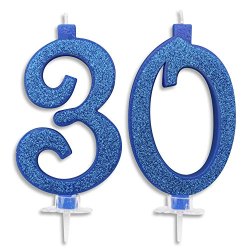 Velas Maxi de 30 años para tarta de cumpleaños de 30 años | Decoración de velas, cumpleaños, aniversario, tarta de 30 | Fiesta temática, altura de 13 cm con purpurina azul o dorado (azul)