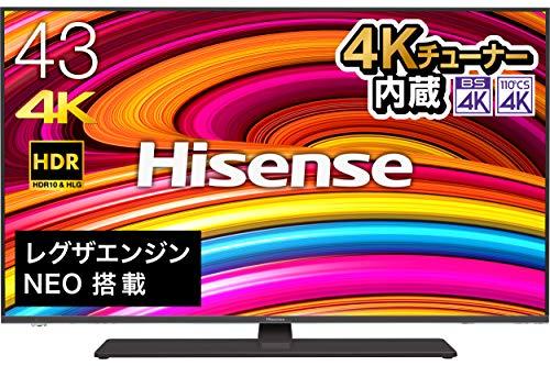 ハイセンス Hisense 43V型 4Kチューナー内蔵液晶テレビ レグザエンジンNEO搭載 HDR対応 -外付けHDD録画対応...