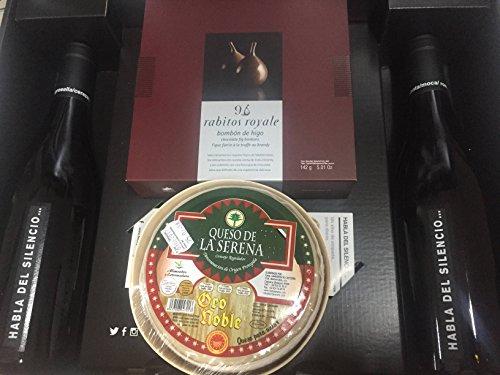 Cesta regalo con dos botellas de vino Habla del Silencio, caja de bombones Rabitos Royale y Queso de la Serena Oro Noble