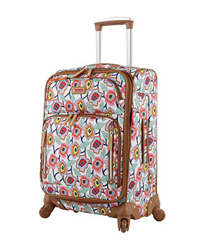Lily Bloom Luggage 24' Expandable Design Pattern Suitcase With Spinner Wheels For Woman (24in, Retro Blossoms)