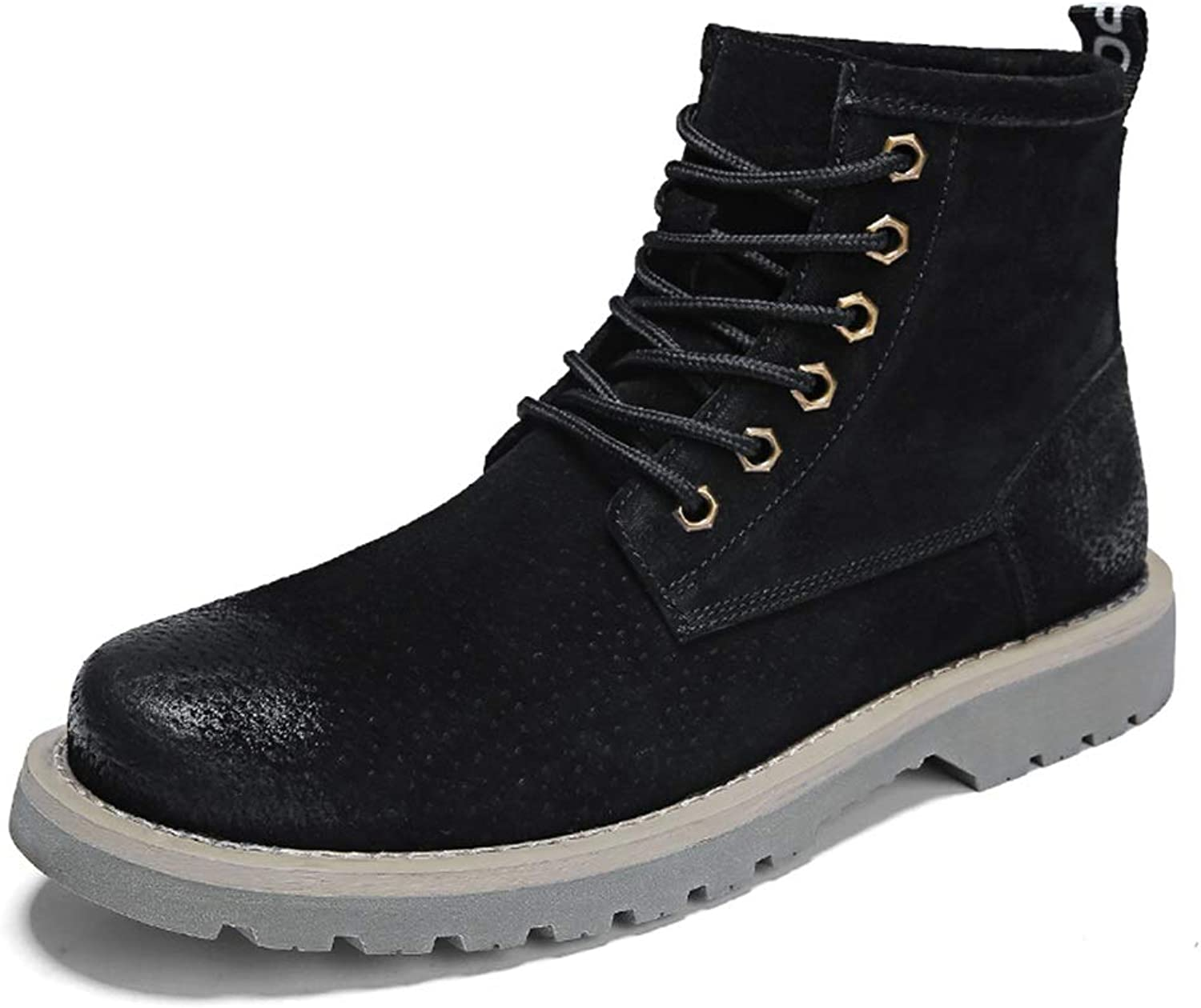 CHENJUAN shoes Men's Fashionable Ankle Boots Casual Pig Skin Fabric High Top Fleece Lined Boots(Conventional Optional)
