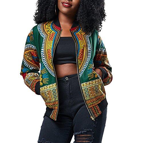 Joseph Costume Women'sCasual African Print Zipper Dashiki Short Bomber Jacket Coat with Pockets, Green, Small