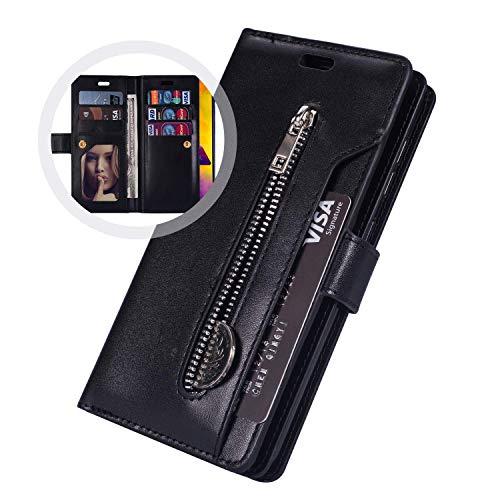 JAWSEU Compatible avec Samsung Galaxy S6 Edge Coque Portefeuille PU Étui Cuir à Rabat Magnétique avec Fonction Stand[9 Fentes de Cart]Fermeture éclair Slim Leather Flip Wallet Case,noir