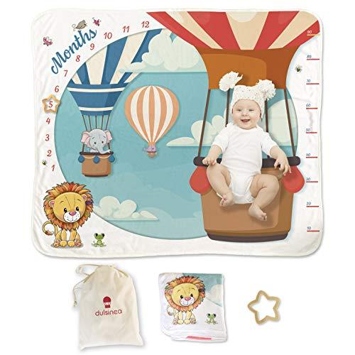 Manta de meses de bebé de franela para recién nacido con bolsa de algodón | Baby Shower Primer año niño niño niño niño niño y niña | manta regalo nacido Lista bebé