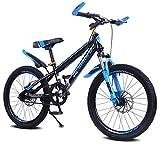 YAOXI Bicicleta De Montaña con Suspensión Amortiguación Horquilla Individual Velocidad Sistema De Freno De Disco Marco Hecho De Acero Al Carbono Bicicleta MTB Niño-Niña,Azul,20Inch